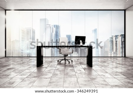 Luxury executive office with city view window - stock photo