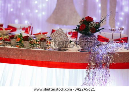 Luxury expensive catering and wedding reception decorations metal and diamonds