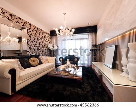 luxury expensive modern living room - stock photo