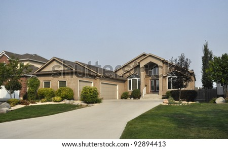 luxury family house in suburb - stock photo