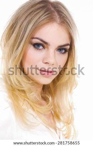 Luxury Fashion blond model, posing in studio 