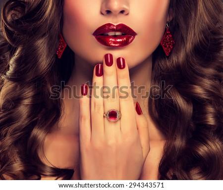 Luxury fashion style, nails manicure, cosmetics ,make-up and curly hair - stock photo