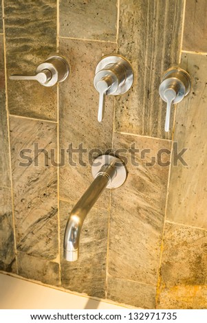 Luxury faucet  in the hotel - stock photo