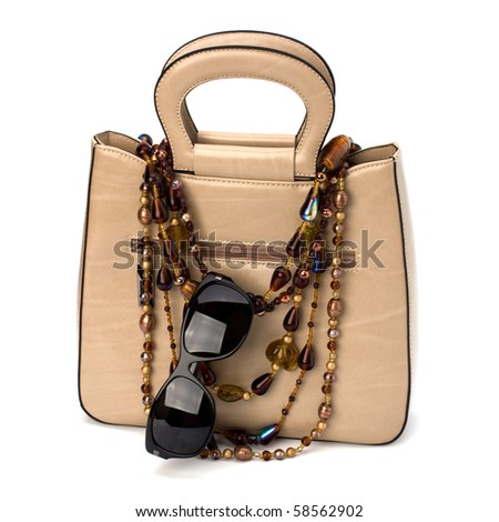 Luxury female handbag isolated on white background - stock photo