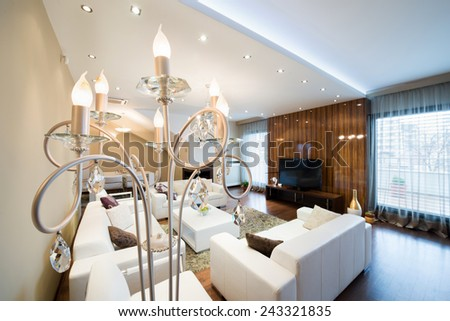 Luxury floor lamp in modern spacious living room with fireplace - stock photo
