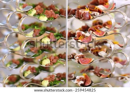 Luxury food on wedding table. Shallow DOF - stock photo