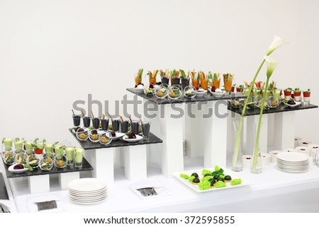 Luxury food on white table. Shallow depth of field