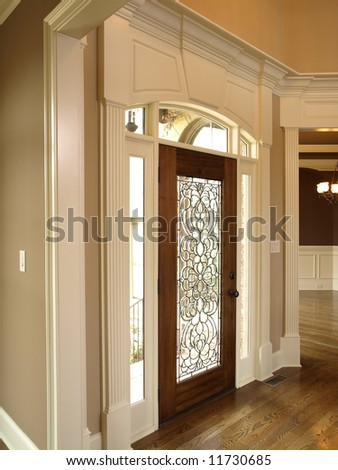 Luxury Foyer Ornate Stained Glass Door Stock Photo 11730685
