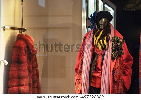 Luxury furs in a fashion store
