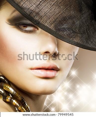Luxury Glamour Woman.Fashion Art Portrait - stock photo