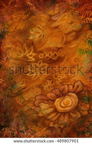 luxury gold brown background with abstract flowers. vertical