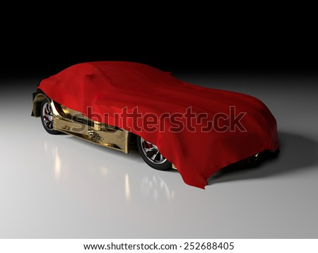 Luxury gold car and red cloth - stock photo