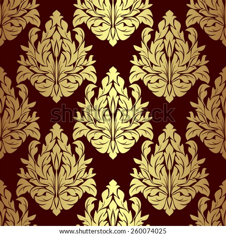 Luxury gold floral ornamental Pattern on red. Raster version. - stock photo