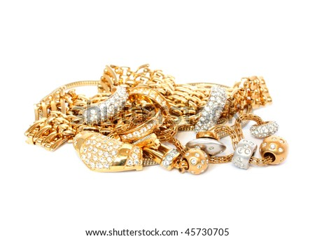 luxury golden accessories - stock photo