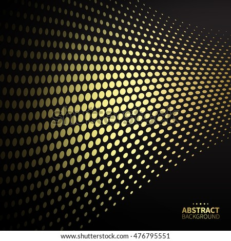 Luxury golden dotted pattern on black background. Flat shape.