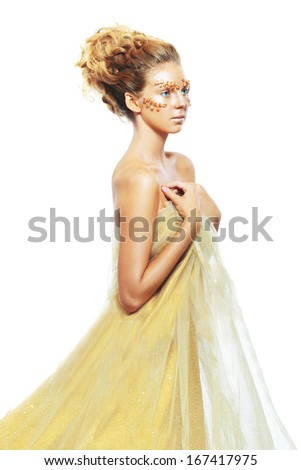 Luxury Golden Makeup. Beautiful Professional Holiday Make-up. Gold Teen Fashion Girl. Fashion Art Portrait.