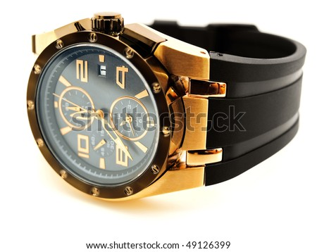 luxury golden man watch against white background - stock photo