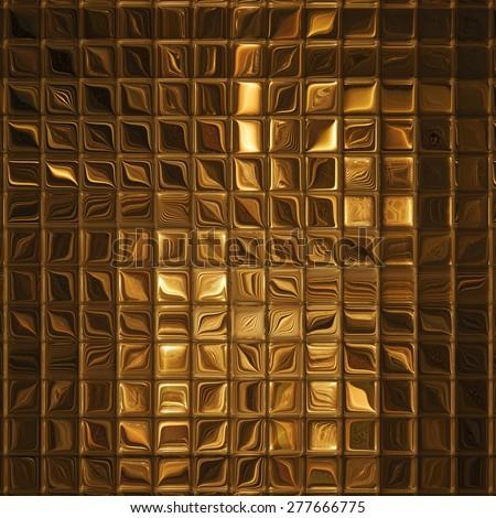 Luxury golden mosaic, gold background - stock photo