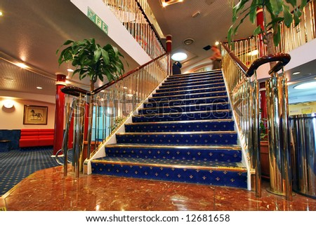 Luxury Golden Stairs with Marble Floor - stock photo