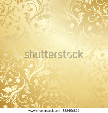 Luxury golden wallpaper. Vintage Floral pattern background.  - stock photo