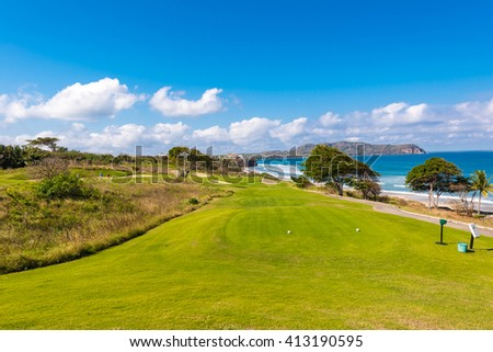 Luxury golf course at the ocean side. - stock photo