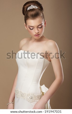Luxury. Gorgeous Woman with Shiny Diadem Daydreaming - stock photo