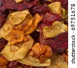 Luxury Gourmet crisps of beetroot, parsnip and carrot background or texture. - stock photo