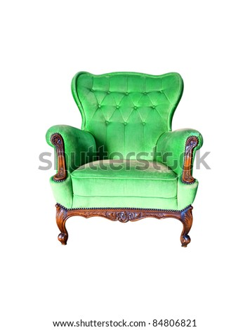 luxury green armchair isolated on white background