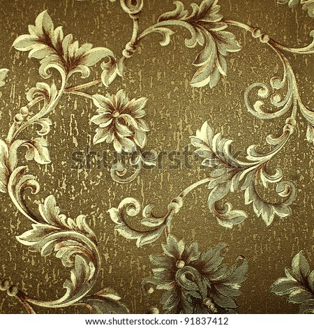 Luxury green floral damask wallpaper - stock photo