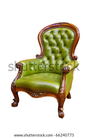 luxury green leather armchair isolated - stock photo