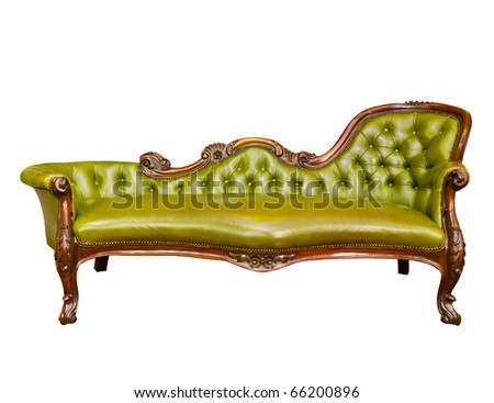 luxury green leather armchair isolated on white background - stock photo