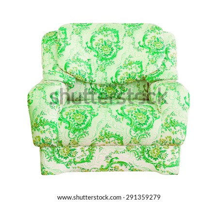 luxury green sofa isolated with clipping path - stock photo