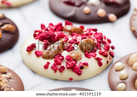 Luxury handmade chocolate mediants, cookies, bites. Traditional french Christmas dessert Copy space - stock photo