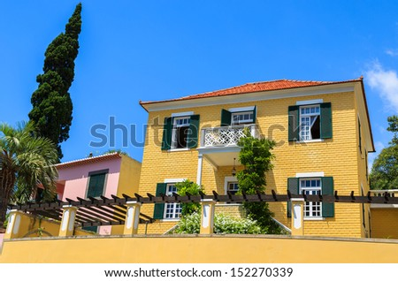 Luxury holiday villa house and cypress tree in garden, Funchal town, Madeira island, Portugal
