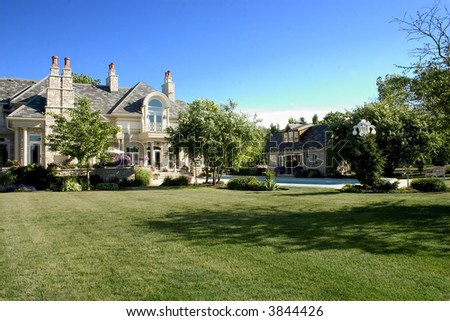 Luxury Home BackYard with pool House and Gardens - stock photo