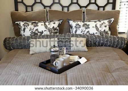 Luxury home bedroom with modern decor. - stock photo
