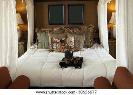Luxury home bedroom with stylish furniture and decor.