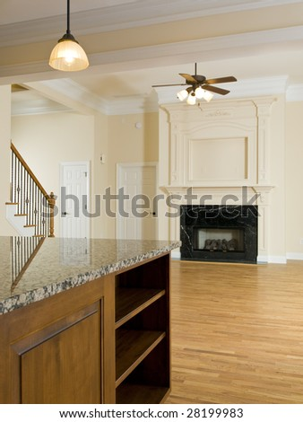 Luxury Home countertop Family room with fan - stock photo