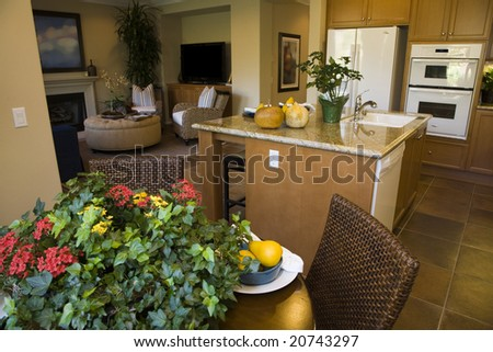 Luxury home dining table and kitchen. - stock photo