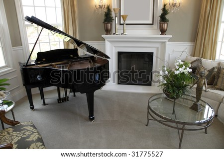 Luxury home grand piano with stylish decor. - stock photo