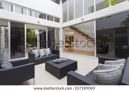 luxury home interior with outdoor entertaining area