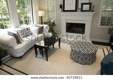 Luxury home living room with a fireplace and stylish decor. - stock photo