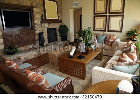 Luxury home living room with contemporary furniture. - stock photo