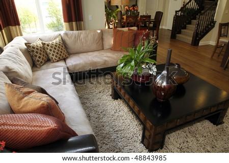 Luxury home living room with stylish decor. - stock photo