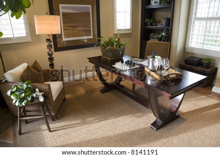 Luxury home office with modern decor. - stock photo