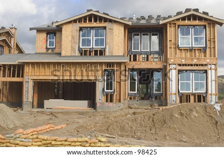luxury home under construction - stock photo