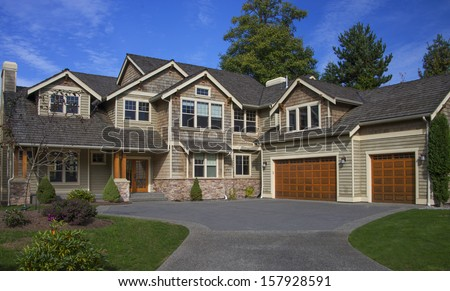 Luxury Home with blue sky - stock photo