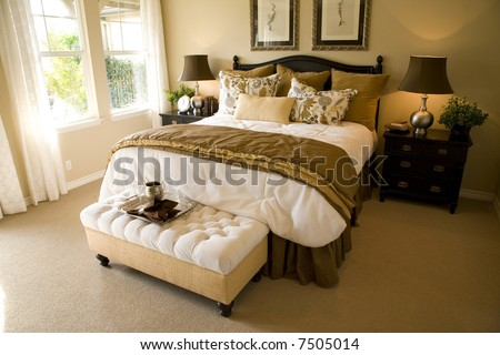 Luxury home with comfortable bedroom and modern decor. - stock photo