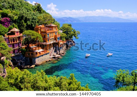 Luxury homes along the Italian coast at Portofino - stock photo