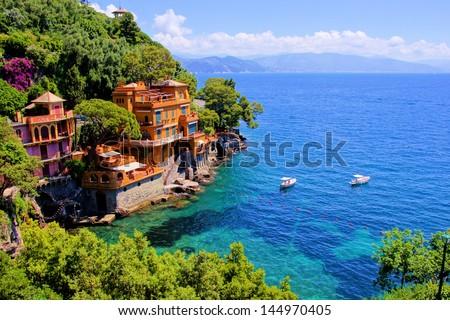 Luxury homes along the Italian coast at Portofino - stock photo